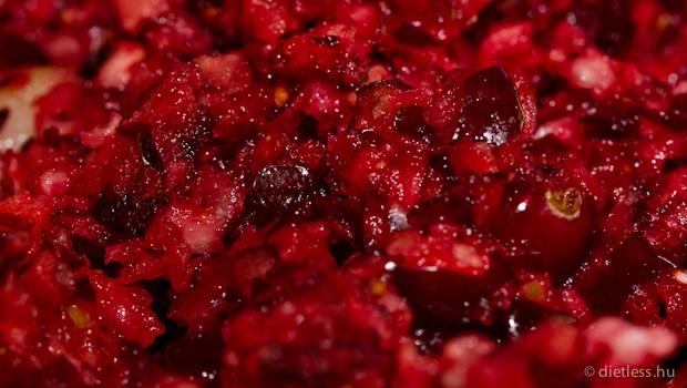 Mézes vörös áfonya körtével és almával